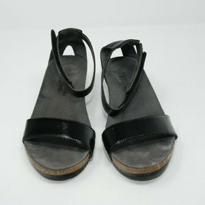 NAOT Black Leather Wedge Sandals Ankle Strap